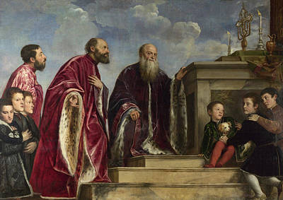 Siblings Painting - The Vendramin Family, Venerating A Relic Of The True Cross by Titian