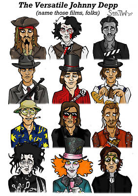 Johnny Depp Digital Art - The Versatile Johnny Depp by Sean Williamson