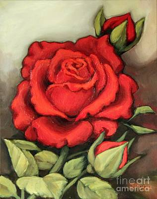 Painting - The Very Red Rose by Inese Poga