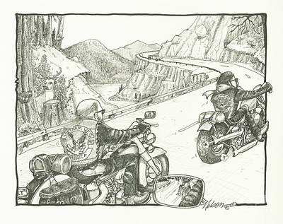 Dave Drawing - The Veterans On Canyon Ride by David T Nelson