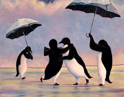 Whimsical Wall Art - Painting - The Vettriano Penguins by Michael Orwick