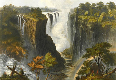 Drawing - The Victoria Falls From Western End Of Chasm by Thomas Baines