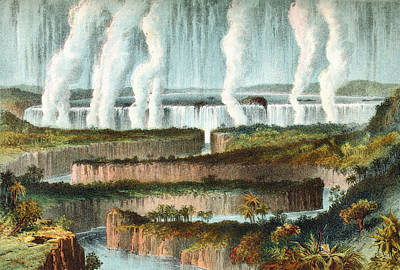 Zambesi River Drawing - The Victoria Falls Or Mosi-oa-tunya by Vintage Design Pics