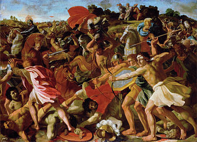 Battle Painting - The Victory Of Joshua Over The Amalekites by Nicolas Poussin