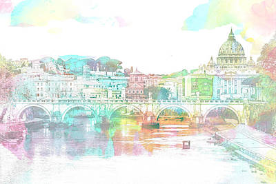 Digital Art - The View From Castel Sant'angelo Towards Ponte Sant'angelo, Brid by Anthony Murphy
