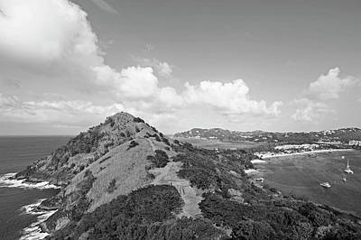 Photograph - The View From Fort Rodney On Pigeon Island Gros Islet Black And White by Toby McGuire