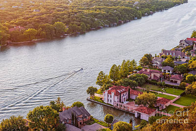 The View From Mt. Bonnell At Sunset - Austin Texas Hill Country Art Print by Silvio Ligutti