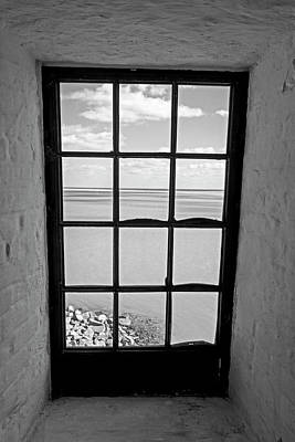 Photograph - The View From The Lighthouse Window Bill Baggs Lighthouse Key Biscayne Florida Black And White by Toby McGuire