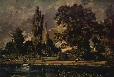 Painting - The View Of Salisbury Cathedral From The River With The House Of The Archdeacon Fischer 1820 by Constable John