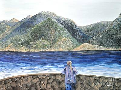 Nature Scene Painting - The View On The Lake by Reb Frost