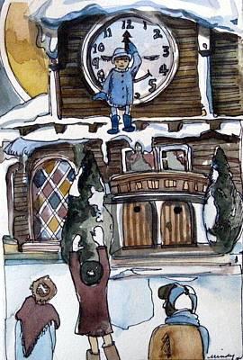 The Village Clock Original by Mindy Newman