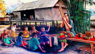 Pan Pipes Painting - The Village Music  Man by Ian Gledhill