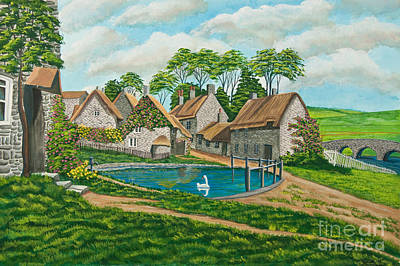 English Gouache Painting - The Village Pond In Wroxton by Charlotte Blanchard