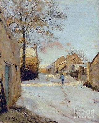 The Village Street In Winter Art Print