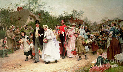 Crowds Painting - The Village Wedding by Sir Samuel Luke Fildes