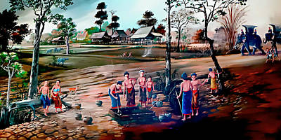 Rice Paddy Painting - The Village Well by Ian Gledhill