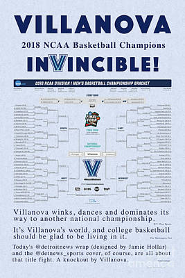 Photograph - The Villanova Dance A Season To Remember Blue Background by John Stephens