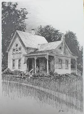 Unsolved Drawing - The Villisca Ax Murder House by Glenn Boyles