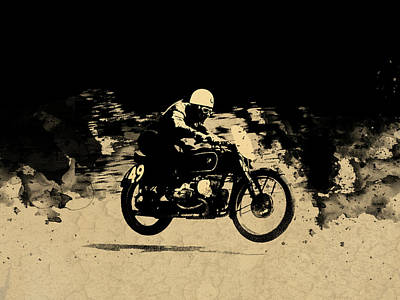 The Vintage Motorcycle Racer Art Print by Mark Rogan
