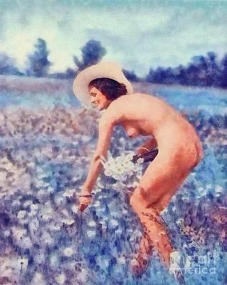 Bdsm Bondage Painting - The Vintage Nudist by Mary Bassett