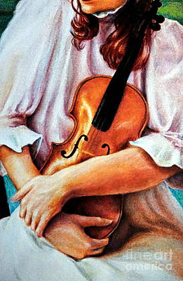 Girl With Peaches Painting - The Violin by Georgia's Art Brush