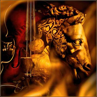Ancient Photograph - The Violin Horse  by Daniel  Arrhakis