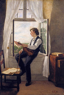 Painting - The Violinist At The Window by Otto Scholderer