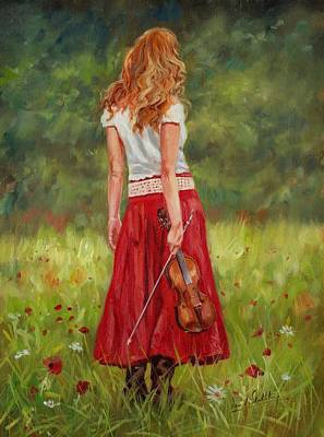 Violin Painting - The Violinist by David Stribbling