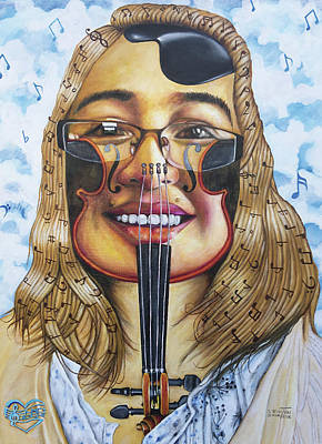 Painting - The Violinist by O Yemi Tubi