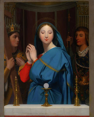 Altar Art Painting - The Virgin Adoring The Host by Jean Ingres
