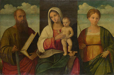 Digital Art - The Virgin And Child And Saints by Francesco Bissolo