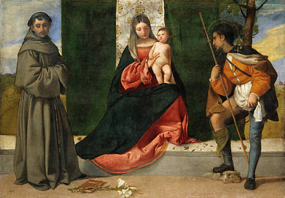 Madonna Painting - The Virgin And Child Between Saint Anthony Of Padua And Saint Ro by Titian