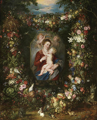 Rubens Painting - The Virgin And Child In A Painting Surrounded By Flowers by Peter Paul Rubens