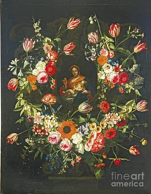 Flowers Painting - The Virgin And Child In A Stone  by MotionAge Designs