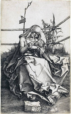Drawing - The Virgin And Child On A Grassy Bench by Albrecht Durer
