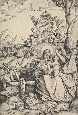 Relief - The Virgin And Child With Eight Angels In A Landscape by Hans Baldung Grien