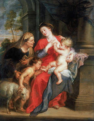 Baptism Painting - The Virgin And Child With Saints Elizabeth And John The Baptist by Peter Paul Rubens
