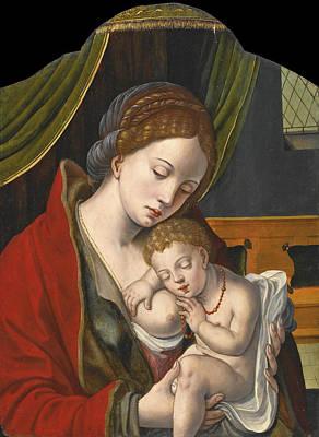 Pieter Coecke Van Aelst Painting - The Virgin And Child by Workshop of Pieter Coecke van Aelst