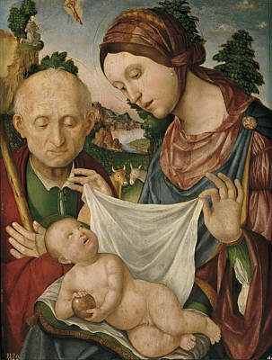 Painting - The Virgin And Saint Joseph Adoring The Christ Child by Giovanni Francesco Maineri