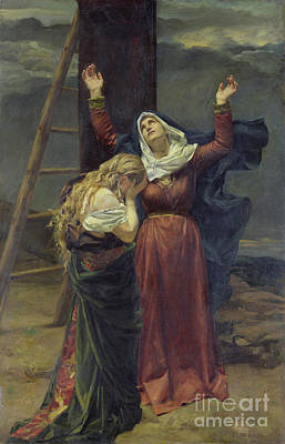 St Mary Painting - The Virgin At The Foot Of The Cross by Jean Joseph Weerts