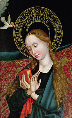 St Mary Painting - The Virgin From The Annunciation by Martin Schongauer