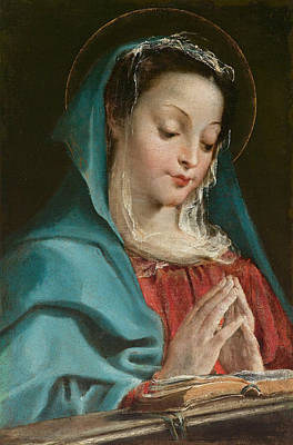 Painting - The Virgin In Prayer by Annibale Carracci