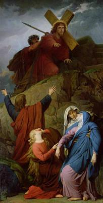 Distraught Painting - The Virgin Of Calvary by Jules Eugene Lenepveu