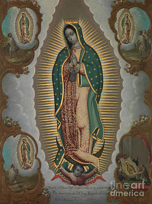 Virgin Guadalupe Wall Art - Painting - The Virgin Of Guadalupe With The Four Apparitions, 1772 by Nicolas Enriquez