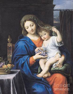 Baskets Painting - The Virgin Of The Grapes by Pierre Mignard
