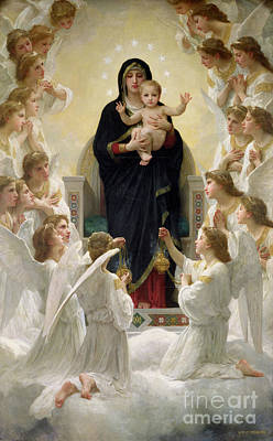 Halos Painting - The Virgin With Angels by William-Adolphe Bouguereau