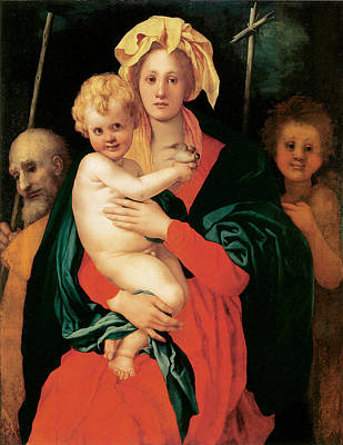 Religious Art Painting - The Virgin With Child by Jacopo Da Pontormo