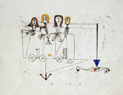 Swiss Drawing - The Virtue Wagon  by Paul Klee