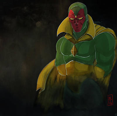 Ironman Drawing - The Vision by Nolan Taylor