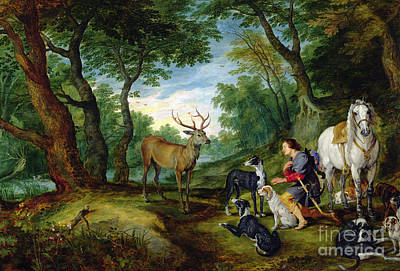 Stags Painting - The Vision Of Saint Hubert by Brueghel and Rubens